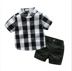 Summer the new children's clothing infant boys plaid shirt with short sleeves shorts leisure suit black 80cm