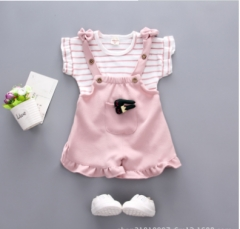 Girls summer infant two-piece suspenders dress with short sleeves pink 80 cm