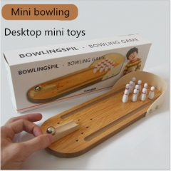 Children's educational wooden toys mini bowling infants parent-child interactive desktop ball game Mini bowling as shown in figure