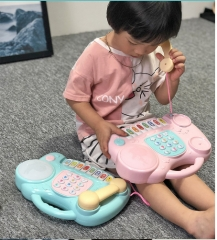 Children multi-function calls puzzle/infant simulation study piano music teaching toys pink as shown in figure