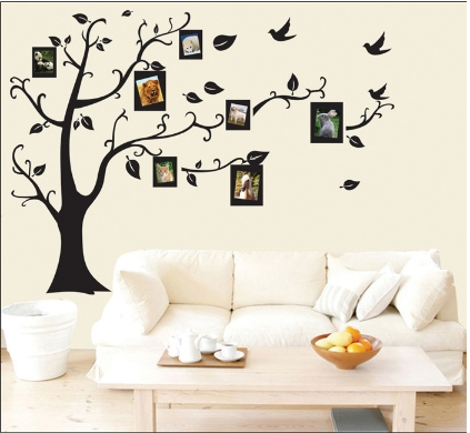 Green transparent wall stickers can remove wall photo on tree black 50*70cm