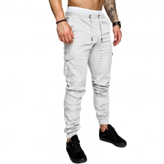 Men Pants Hip Hop Harem Joggers Pants Male Trousers Joggers Solid Multi-pocket Pants Sweatpants Light blue M