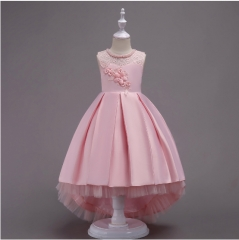 Princess flower girl dress lace trailing dress pink 110cm