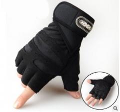 Wear-resisting weightlifting half gloves Men's sports fitness gloves black m