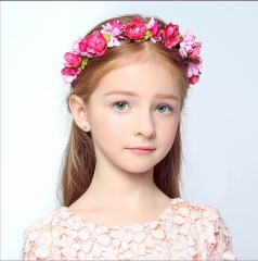 Children's headdress flower wreath bridesmaid simulation flower seaside holiday decorations A rose red As shown in figure