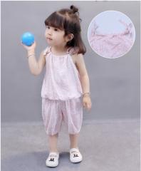 Infantile summer wear condole belt two-piece design suits pink 80cm
