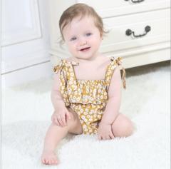 Children's clothing infant flower dew shoulder strap climb clothes trials yellow 70cm