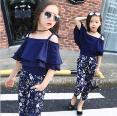Girls dress strapless snow spins condole belt broken beautiful pants two-piece outfit Navy blue 110cm