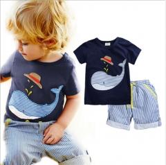 Boy's pure cotton short sleeve stripe T-shirt shorts two-piece suit children navy blue 2M