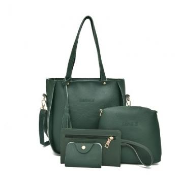 Women Bag Tassel Handbag Purse Ladies PU Leather Crossbody Bag 4Pcs green one size