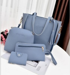 Women Bag Tassel Handbag Purse Ladies PU Leather Crossbody Bag 4Pcs sky blue one size