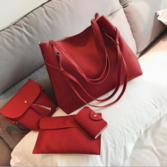 4 Pcs/Set 2019 Summer Women Leather Handbag+Crossbody Bag PU Leather Solid Color Ladies Bags pink one size
