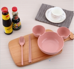 Meal teaspoons of silicone cartoon plate dishes suit pink as shown in figure