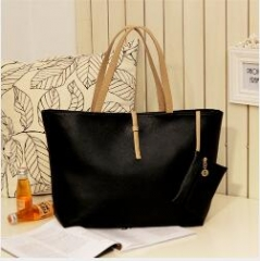 Fashion High Capacity Handbag With Small Wallet Buckle PU tote bag black one size