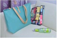 Fashion High Capacity Handbag With Small Wallet Buckle PU tote bag green one size