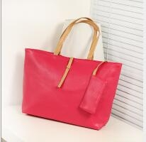 Fashion High Capacity Handbag With Small Wallet Buckle PU tote bag rose red one size