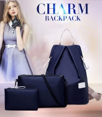 Handbags 3pcs Solid Color Nylon Handbag Tote Portable Backpack purple one size