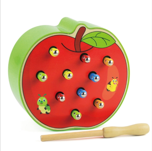Worm eat fruit Children's early education hand-eye coordination concentration toys Apple magnetic catch worm as shown in figure