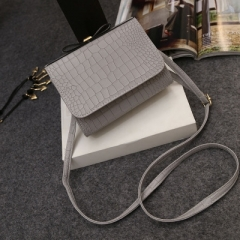 Crocodile Pattern Patent Leather Shoulder Bags Ladies grey one size