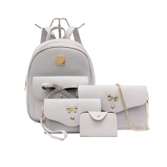 Fashion Composite Bag Leather Backpack Women Cute 4 Sets Bag Backpacks For Girls Bags grey one size