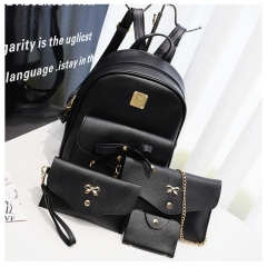 Fashion Composite Bag Leather Backpack Women Cute 4 Sets Bag Backpacks For Girls Bags black one size