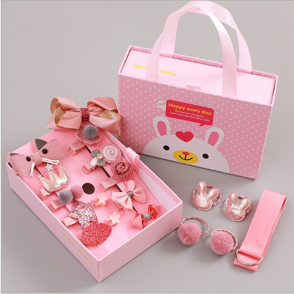 Children's hair suit hairpin gift of the girls pink as shown in figure