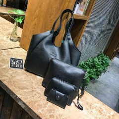 Women Handbags Composite Lady Shoulder Crossbody Wallet Bag PU Leather Bags 4pcs/set Purse black one size