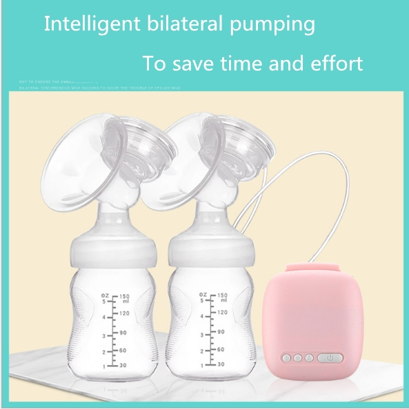 Bilateral electric pumps automatically sucking milk of suction massage postpartum lactation pink as shown in figure
