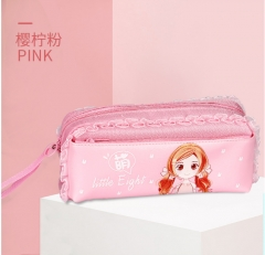 Children's cartoon students stationery pen bag bag Lace the large capacity of pencil bags pink As shown in figure