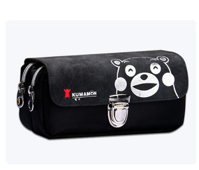 Large capacity double stationery bags pupil pencil bags brown bear pen bag black As shown in figure