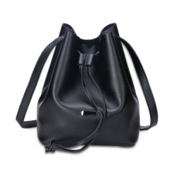 Strap Dual Purposes Shoulder Crossbody Bucket Bag black one size