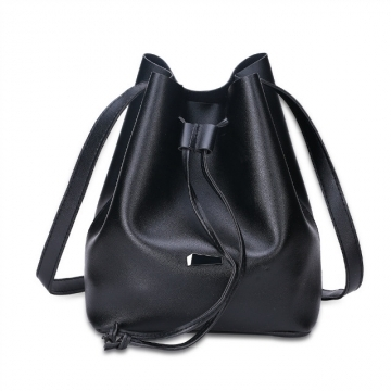 Strap Dual Purposes Shoulder Crossbody Bucket Bag black one size