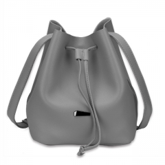 Strap Dual Purposes Shoulder Crossbody Bucket Bag grey one size
