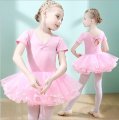 Children dance suit short-sleeved summer girls dancing ballet skirt girl uniforms skirt pink 110cm