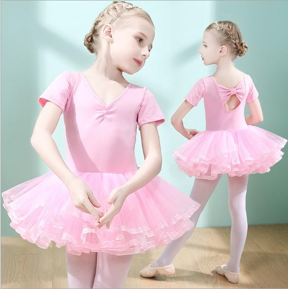 Children dance suit short-sleeved summer girls dancing ballet skirt girl uniforms skirt pink 110cm