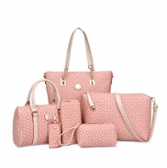 The new six-piece-style fashion shoulder bag cross-bag handbag ladies bag pink one size