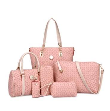 The new six-piece-style fashion shoulder bag cross-bag handbag ladies bag pink one size