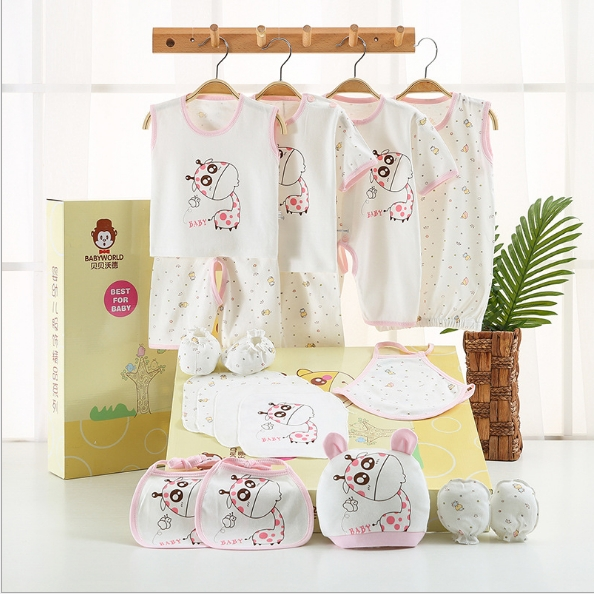 Neonatal underwear suits, baby clothes full moon ritual gift box pink The newborn