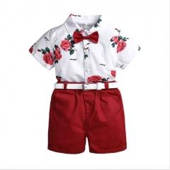 Boy's children's wear summer cuhk children's printed shirt leisure pants suit to send belt As shown in figure 90cm