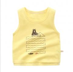 Boy's cartoon baby sweater vest summer new small children thin jacket children's clothes yellow 90cm