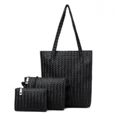One - shouldered inclined - span 3 - piece women's bag black one size
