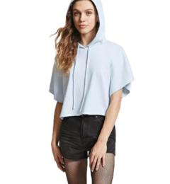 New summer girls T-shirt short sleeve sexy cap short sleeve hoodie blue s