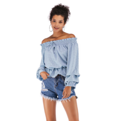 A halter neck, strapless chiffon top, bobbed sleeve blouse for women blue m