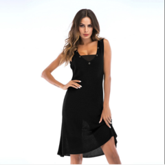 Women's dress with large v-neck stitching and a strapless knit dress for summer black m