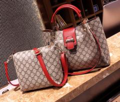 Female bag one shoulder cross handbag large capacity fashion child mother bag two sets red one size