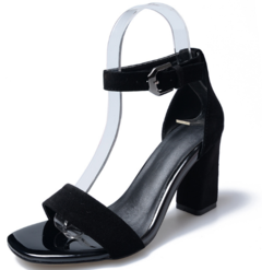 South Korea's new summer high heel sandals for women with a chunky summer buckle sandals black 37