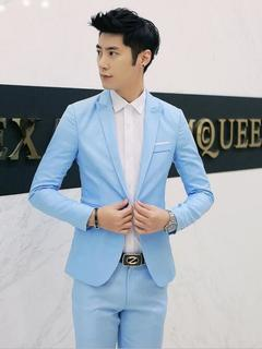 Korean men's solid color casual small suit jacket tide men's clothing sky blue M