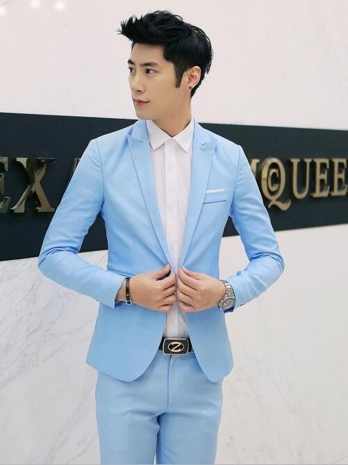 Korean men\u0027s solid color casual small suit jacket tide men\u0027s clothing sky  blue M