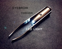 Stainless steel eyebrow trimmer tool LED lamp tweezers silver