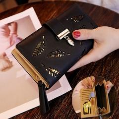 Women  Long Clutch Purse Card Holder Bifold Leather Wallet black one size